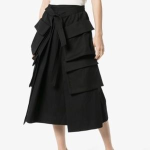 Lemaire Black Wool-Linen Blend Cargo Skirt 8 NWT
